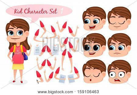 Kid Character Set with parts of body for design work and animation. Face and body elements. Girl character for your scenes. Vector illustration.
