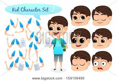 Kid Character Set with parts of body for design work and animation. Face and body elements. Boy character for your scenes. Vector illustration.