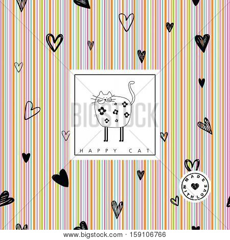 Happy cat card - seamless pattern included.