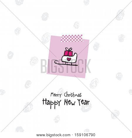 New year greeting card. Hand drawn. Decorative background.