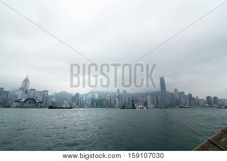 Downtown skyline landscape panorama in Hongkong island. skyscrapers horizontal composition