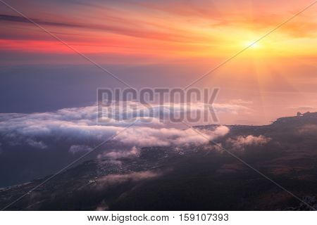 Amazing View From The Mountain Peak At Sunset