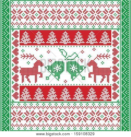 Scandinavian style and Nordic culture inspired Christmas and festive winter square  pattern in cross stitch style with Christmas bell,  tree, reindeer, heart, snowflake, star,  ornaments in red, green