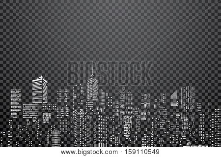 white windows on city skylines, transparent abstract cityscape background, editable and layered