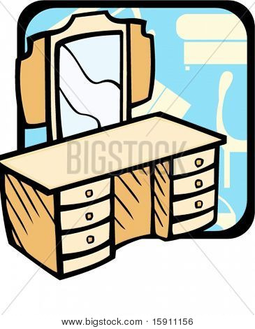 Dressing table.Pantone colors.Vector illustration