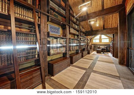 Russia,Moscow region - the interior of a home library in a luxury country house