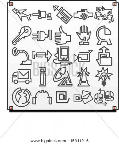 A set of 25 vector icons of communication objects.Each icon is drawn with a single meandering line.