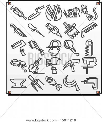 A set of 25 vector icons of tool objects, where each icon is drawn with a single meandering line.