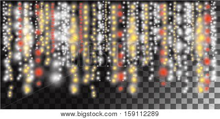 Glowing garland background. Abstract lightning bokeh background. Stock vector.