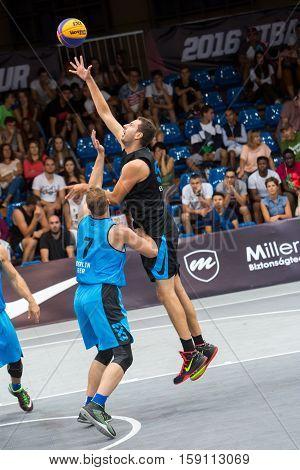 DEBRECEN - SEPTEMBER 8 : FIBA 3X3 BASKETBALL WORLD TOUR MASTERS - STREETBALL IN THE CENTER SQUARE SEPTEMBER 8 2016 DEBRECEN HUNGARIYA