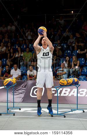 DEBRECEN - SEPTEMBER 8 : FIBA 3X3 BASKETBALL WORLD TOUR MASTERS - PLAYER MARKO SAVIC - THREE PTS COMPETITION - STREETBALL IN THE CENTER SQUARE SEPTEMBER 8 2016 DEBRECEN HUNGARIYA