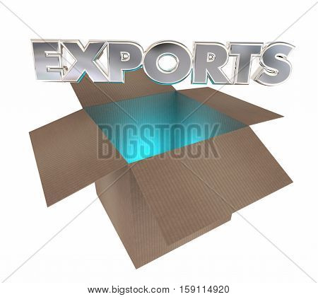 Exports Cardboard Box International Products Goods Shipment 3d Illustration