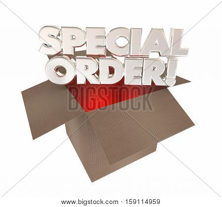 Special Order Custom Product Made for You Box 3d Illustration