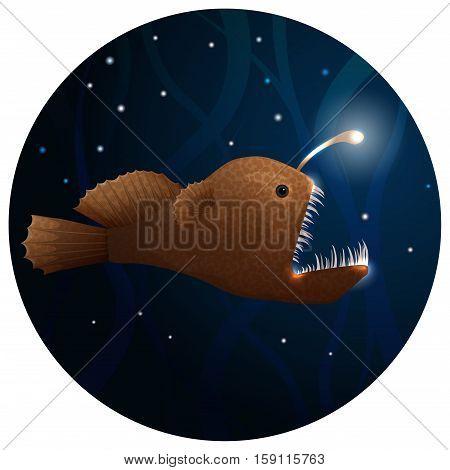 Anglerfish vector illustration. Deep sea predatory fish.