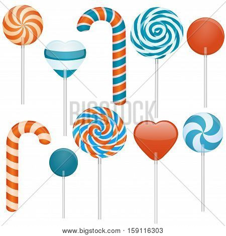 Vector illustration of different sweets. Candy cane swirl lollipop heart lollipop round lollipop.