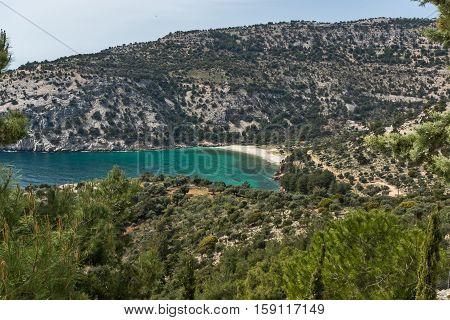 Blue waters of Livadi beach, Thassos island, East Macedonia and Thrace, Greece