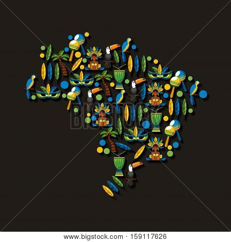 brazilian culture icons in country map shape over black background. colorful design. vector ilustration