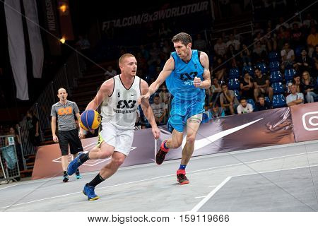 DEBRECEN - SEPTEMBER 8 : FIBA 3X3 BASKETBALL WORLD TOUR MASTERS - PLAYER MARKO SAVIC - STREETBALL IN THE CENTER SQUARE SEPTEMBER 8 2016 DEBRECEN HUNGARIYA