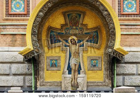 27.11.2016.Russia.Saint-Petersburg.Mosaic the Crucifixion of Jesus Christ on the walls of the temple the Savior on the spilled Blood.