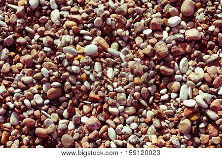 marine pebbles on the shore of the Baltic Sea, to grind with water in various sizes and colors, the oval and round,  nature, background tinted, preset orange hue