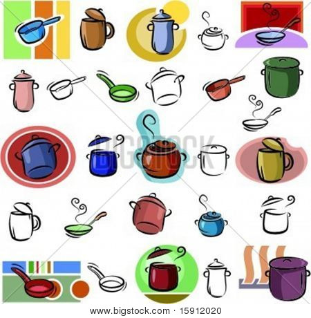 A set of pot and frying pan vector icons in color, and black and white renderings.