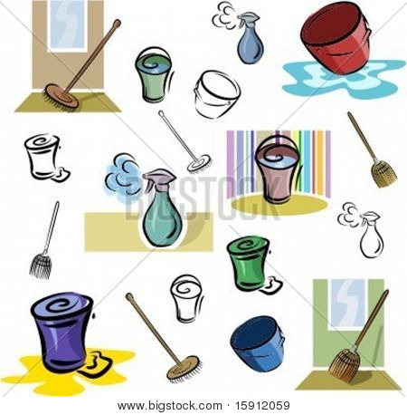 A set of vector icons of washing and cleaning tools in color, and black and white renderings.