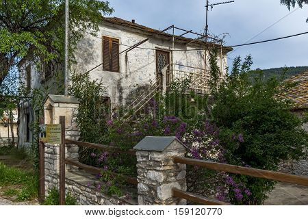 Old house and flowers in the village of Theologos,Thassos island, East Macedonia and Thrace, Greece