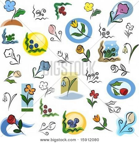 A set of flower vector icons in color, and black and white renderings.