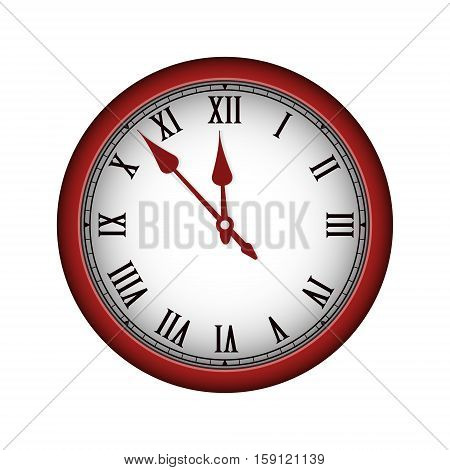 Red Realistic Vintage Clock Isolated On White. Vector Illustration