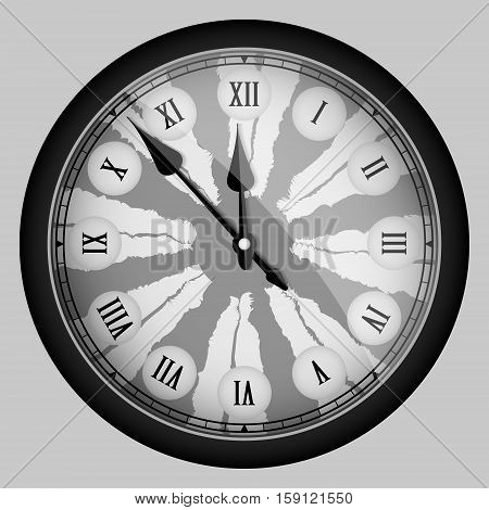 Black Realistic Modern Clock Isolated On White. Vector Illustration