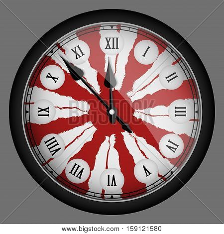 Red Realistic Modern Clock Isolated. Vector Illustration