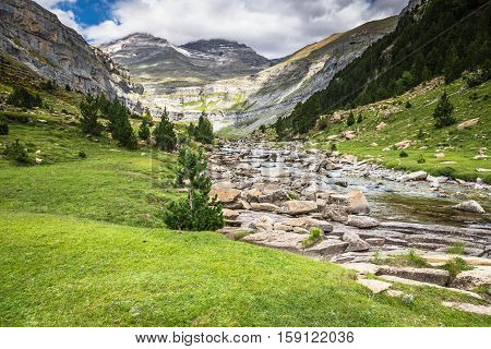 Mountains in the Pyrenees Ordesa Valley National Park Aragon Huesca Spain.