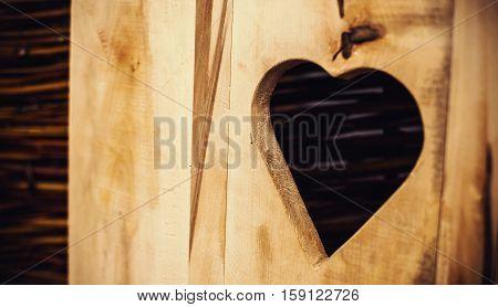 Etched Heart In Wooden Door