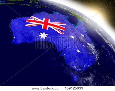 Australia With Flag In Rising Sun