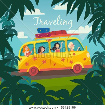 Summer trip vector illustration. Surfing bus on palm beach. Happy people on summer holidays. Microbus with surfers. Palm background on road trip. Tourism concept cartoon character hippie