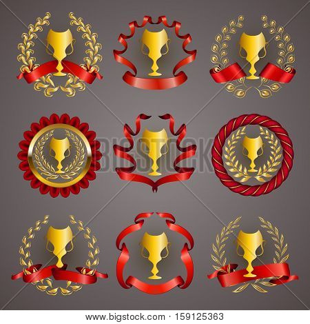 Set of luxury golden champion cups, medals, emblems with gold laurel wreaths, red ribbons for page, web design. Filigree elements, icons, signs in vintage style. Vector illustration EPS 10.