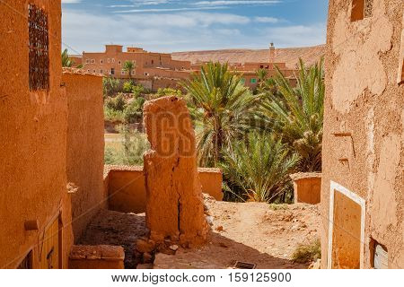 View Of The Oasis Below The Fortress Ait Ben Haddou