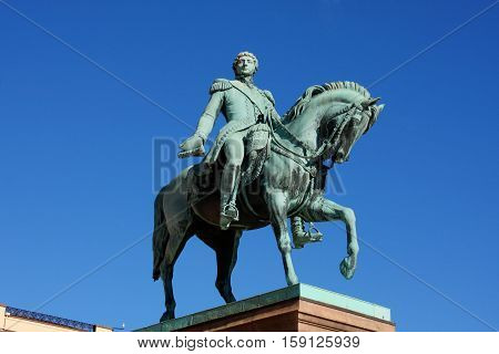 Statue of Norwegian King Karl Johan XIV in front the Royal Palace in Oslo - Norway