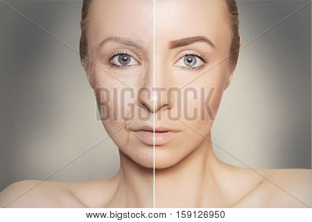 tow halves of caucasian woman face on grey