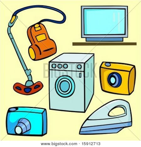 A set of 6 vector illustrations of vacuum-cleaner, television, washing machine, photo cameras and iron.