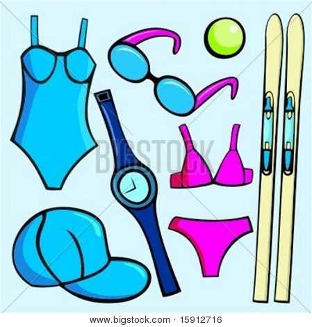 A set of 7 vector illustrations of fashion sport accessories, including sunglasses, tennis ball, skis, sport hat, watch and women's bathing suits.