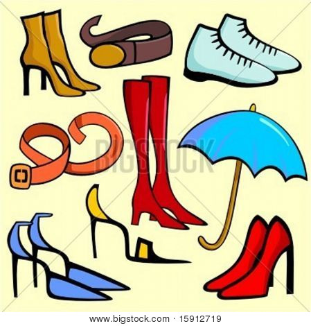 A set of 9 vector illustrations of women`s fashion shoes, belt and an umbrella.