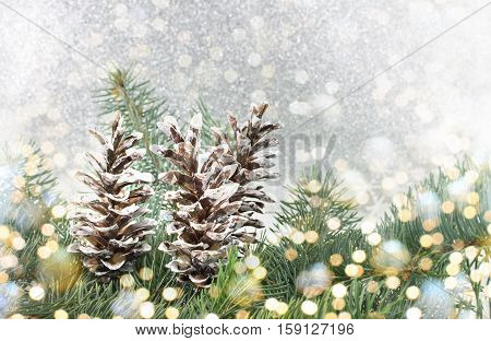 Pinecones And Fir Tree On Sparkling Background.