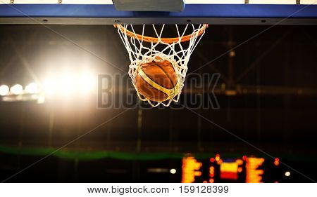 basketball going through the hoop at a sports arena