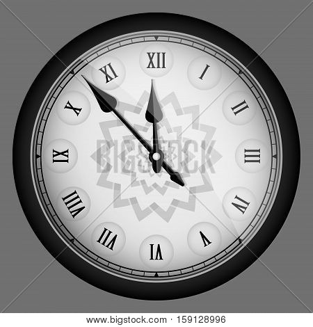 Black Realistic Vintage Clock Isolated. Vector Illustration