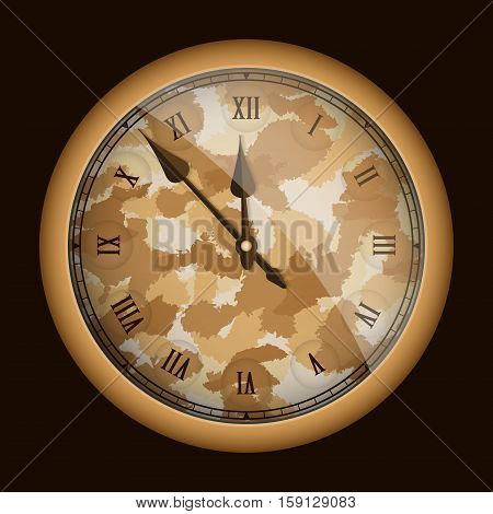Camouflage Style Realistic Clock Isolated On Black. Vector Illustration