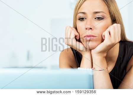 Woman Reading Big Data On Her Screen