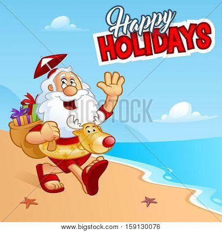 Sympathetic Santa Claus walking on a beach