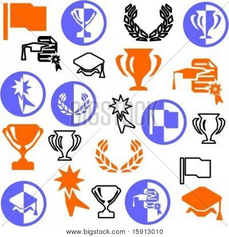 A set of 21 miscellaneous icons. Check my portfolio for many more images of this series.