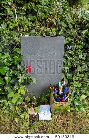 Tomb Of Douglas Adams At The Highgate Cemetery In London